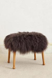 Fur top footstool Anthropologie | DeliciousPerspective