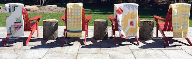 Spoolhardygirl quilts outside | DeliciousPerspective.com